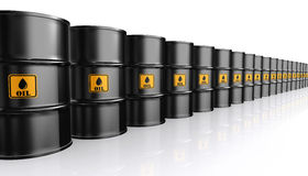 3D illustration of Black Metal Oil Barrels. Royalty Free Stock Photo