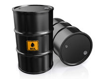 3D illustration of Black Metal Oil Barrels. 3D illustration of Black Metal Oil Barrels, Industrial Concept Stock Photography