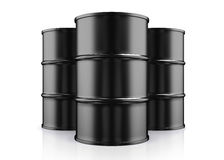 3D illustration of Black Metal Oil Barrels on White Background. 3D illustration of Black Metal Oil Barrels, Industrial Concept Royalty Free Stock Photo