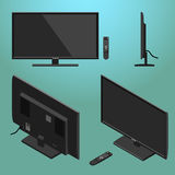 3D Illustration of Black Modern LED TV with remote control isometric. From different sides Royalty Free Stock Photos
