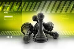 Black pawns. 3d illustration of Black pawns in color background Stock Photography