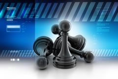 Black pawns. 3d illustration of Black pawns in color background Stock Photo