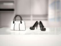 3d illustration of black shoes and a white bag. In a wardrobe Royalty Free Stock Image