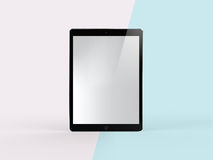 3D Illustration of Black Tablet on Simple Pastel Pink Mint Background. Front View of Black Tablet on Simple Pastel Pink Mint Background. 3D Illustration of Royalty Free Stock Photo