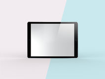 3D Illustration of Black Tablet on Simple Pastel Pink Mint Background. Front View of Black Tablet on Simple Pastel Pink Mint Background. 3D Illustration of Royalty Free Stock Photos