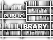 3d Illustration of black and white library bookshelf, background. 3d Illustration of black and white library bookshelf. background Stock Photography