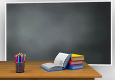 3d blank. 3d illustration of blackboard with books and Stock Photo