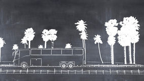 3D illustration of a blackboard. 3D illustration of a painted bus on a blackboard Stock Image