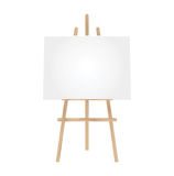 3D illustration  blank canvas on a wooden easel. 3D illustration  blank canvas on a wooden easel isolated on a  white background. Vector image Royalty Free Stock Images