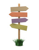 Direction sign. 3d illustration of blank direction sign, over white background Stock Photo