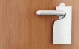 3d sign on door handle. 3d illustration. Blank sign on the door handle Stock Photos