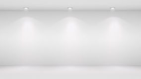 3D illustration of blank wall lighted by spotlights Stock Photography