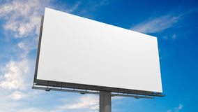 3D illustration of blank white billboard against blue sky.  Stock Photography