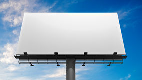 3D illustration of blank white billboard against blue sky Stock Photography