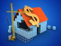 3d dollar sign. 3d illustration of block house over blue background with dollar sign and construction site Stock Photo