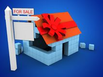 3d block house. 3d illustration of block house over blue background with gift ribbon and sale sign Stock Photography