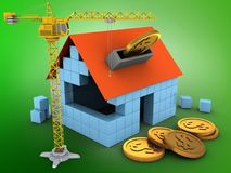 3d crane. 3d illustration of block house over green background with coins and crane Stock Images
