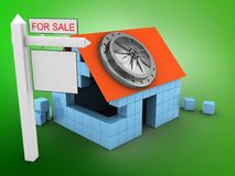 3d vault door. 3d illustration of block house over green background with vault door and sale sign Royalty Free Stock Photos