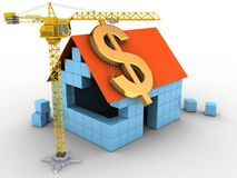 3d block house. 3d illustration of block house over white background with dollar sign and crane Royalty Free Stock Image