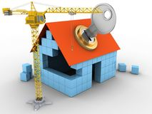 3d key. 3d illustration of block house over white background with key and crane Stock Image