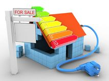 3d block house. 3d illustration of block house over white background with power ranks and sale sign Stock Images