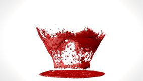 3d illustration of blood or paint splatter drop isolated on white background. 