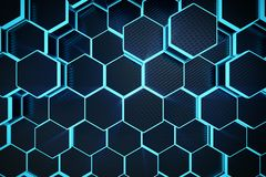 3D illustration blue abstract hexagonal geometric background. Structure of self-luminous hexagons in blue hue with. Volume light rays Stock Photos