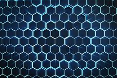 3D illustration blue abstract hexagonal geometric background. Structure of self-luminous hexagons in blue hue with. Volume light rays Stock Images