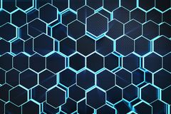 3D illustration blue abstract hexagonal geometric background. Structure of self-luminous hexagons in blue hue with. Volume light rays Royalty Free Stock Images