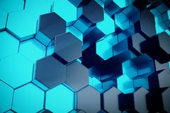 3D illustration blue abstract hexagonal geometric background. Structure of self-luminous hexagons in blue hue with. Volume light rays stock illustration