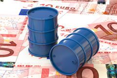 3d illustration: Blue barrels of oil lie on the background of banknote ten Euro, European Union. Money. Petroleum business Stock Photos