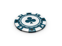 3d Illustration of Blue Casino chip isolated on white background. Royalty Free Stock Image