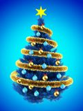 3d blank. 3d illustration of blue Christmas tree over blue with blue balls and frippery Royalty Free Stock Photos