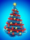 3d tinsel blue. 3d illustration of blue Christmas tree over blue with red balls and frippery red Stock Photography