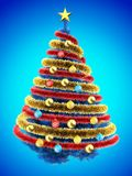 3d tinsel. 3d illustration of blue Christmas tree over blue with colorful balls and frippery Royalty Free Stock Images