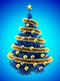 3d blank. 3d illustration of blue Christmas tree over blue with golden balls and frippery Stock Photography