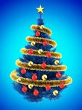 3d blank. 3d illustration of blue Christmas tree over blue with red balls and frippery Royalty Free Stock Image