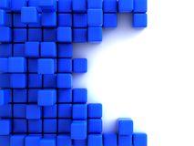 3d illustration of blue cubes. Abstract of 3d blue cubes, blocks background Stock Image