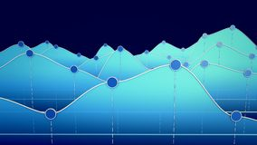 3D illustration of a curve chart or line graph. 3D illustration of a blue curve chart or line graph Stock Images