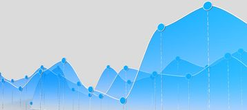3D illustration of a curve chart or line graph. 3D illustration of a blue curve chart or line graph on grey background Royalty Free Stock Photo