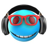3d blue emoticon smile. 3d illustration of blue emoticon smile with black headphones over white background Royalty Free Stock Image