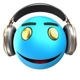 3d blue emoticon smile. 3d illustration of blue emoticon smile with headphones over white background Stock Photos