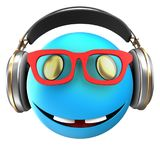 3d blue emoticon smile. 3d illustration of blue emoticon smile with headphones over white background Royalty Free Stock Images