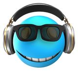 3d blue emoticon smile. 3d illustration of blue emoticon smile with headphones over white background Royalty Free Stock Image