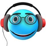 3d blue emoticon smile. 3d illustration of blue emoticon smile with red headphones over white background Stock Photos