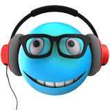 3d blue emoticon smile. 3d illustration of blue emoticon smile with red headphones over white background Royalty Free Stock Photography