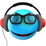 3d blue emoticon smile. 3d illustration of blue emoticon smile with red headphones over white background Stock Photography