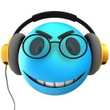 3d blue emoticon smile. 3d illustration of blue emoticon smile with yellow headphones over white background Stock Image