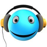 3d blue emoticon smile. 3d illustration of blue emoticon smile with yellow headphones over white background Royalty Free Stock Photos