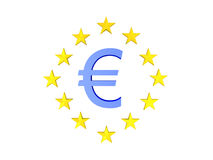 3D illustration of blue euro currency symbol with twelve stars a. Round.  on white Royalty Free Stock Photos